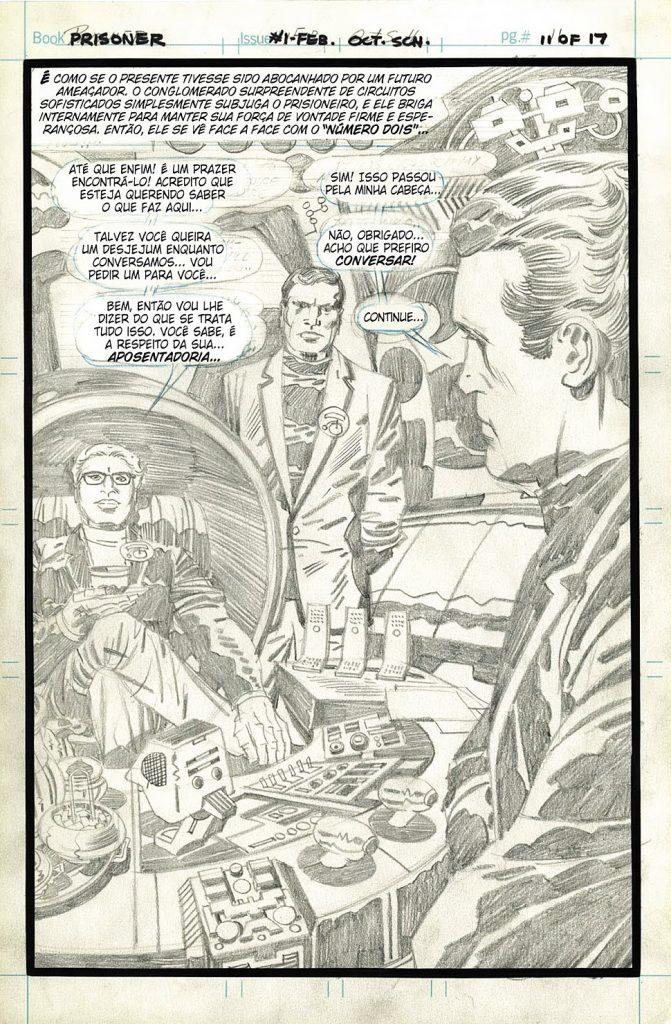 Lápis de uma página do Prisioneiro. Título nunca foi publicado